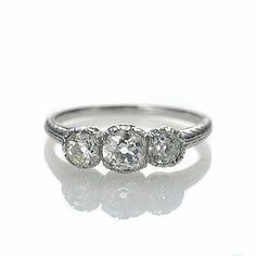Engagement Ring Art Deco Three Stone 16