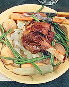 Raymond's Glazed Lamb Shanks | Martha Stewart Living - Raymond Blanc, executive chef and owner of Le Manoir aux Quat' Saisons in Oxfordshire, England, varies the vegetables in this dish depending on the time of year.