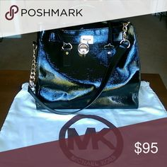 """Hamilton tote with key and Dust Bag Rare Hamilton Patent Leather Tote. Great condition. 14""""W x 13""""H x 6""""D. (Interior capacity: large.) 4 ?"""" strap drop; 12 ?"""" shoulder strap drop. A steal at this price! Michael Kors Bags Totes"""