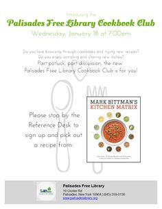 Cookbook Club:Kitchen Matrix - Wednesday, January 18 @ 7:00 pm