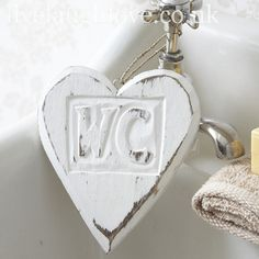 Distressed WC Hanging Heart