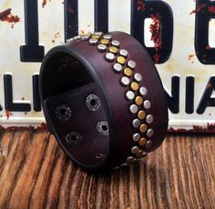 Metal Studs Genuine Leather Brown Wristband Bracelet