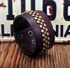 Metal Studs Genuine Leather Brown Wristband Bracelet