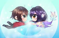 """623 Likes, 10 Comments - Bubs  (@friedbubble) on Instagram: """"Chibi Mermaid aph and Aaron ❤️ • • • Eh... I really can't draw chibis  #aphmau #aarmau…"""""""