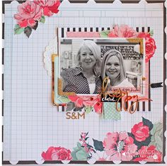 #papercrafting #scrapbook #layout - color fever- pink, white, black, gold! (via Bloglovin.com )