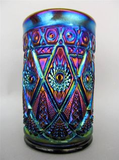 Imperial DIAMOND LACE  ELECTRIC PURPLE CARNIVAL GLASS TUMBLER