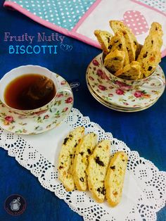 Fruity Nutty Biscotti  These fruity nutty biscotti are wonderfully crunchy cookies, perfect to dunk in your morning cup of coffee or tea. These are traditional dry, crispy Italian cookies ,oblong shaped and twice baked.With a variety of recipes to choose from and innumerable ways to decorate them they are a creative gift alternative and an excellent way to bring a little bit of Italy home.
