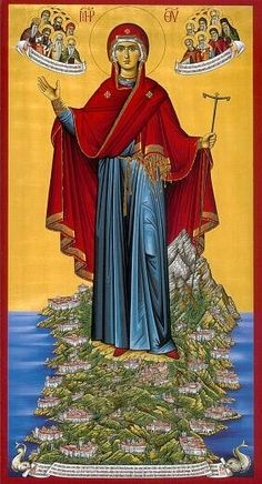 Icon of Panagia of the Holy Mountain, Mount Athos Byzantine Icons Religious Images, Religious Icons, Religious Art, Orthodox Catholic, Orthodox Christianity, Russian Orthodox, Roman Catholic, Byzantine Icons, Byzantine Art