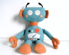Kids  Baby & Toddler  Stuffed Toy  Rag Doll  Robot by 2dancingdogs, $55.00