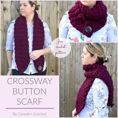 Crochet this gorgeous Crossway Button Scarf. A quick and easy beginner friendly pattern by Croyden Crochet. Source by croydencrochet Crochet Scarves, Crochet Shawl, Knit Crochet, Crochet Granny, Quick Crochet, Free Crochet, Free Knitting, Easy Crochet Patterns, Scarf Patterns