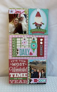 December Daily Cheer Album Front cover (altered metal clipboard box) by Patty Folchert for Jillibean Soup featuring the new Christmas Cheer Chowder Collection