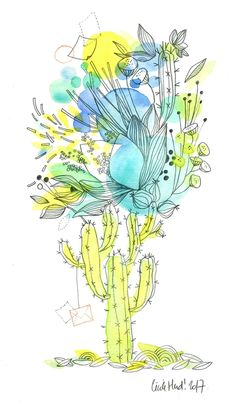 cactus en fleur, Cécile Hudrisier
