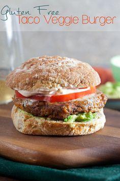 These homemade Taco Veggie Burgers are gluten free!