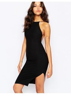 Boohoo Crepe Bodycon Midi Dress - Black