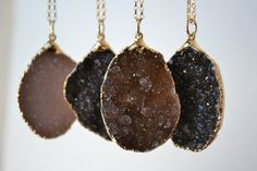 DRUZY LOVE>>>  ~Natural Agate Druzies ~Electroformed with 24kt Gold (gold plate) ~18 inch 14kt Gold Fill chain ~ pendant size varies from .75 - 1 inches ~Handmade from start to finish in Los Angeles, Ca   Electroforming is a specialized plating process on organic matter, such as gemstones, bone and anything other than metal. We use this process to give a unique look to our designs with precious metals for a fraction of the price of solid Gold and Silver. This process includes a thic...