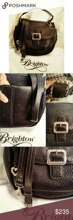 """. BRIGHTON """"BECKETT"""" PEBBELD LEATHER  w/DUST BAG  NWOT BRIGHTON """"BECKETT"""" # E793217 BLACK PEBBLED BAG *.  Handbag or Shoulder Bag *.  1 Large Buckle Front Closing w/Pouch/Magnetic Closing *.  Inside Zippered Pouch w/2 Compartments *.  1 Handle Drop 5"""" / Adjustable Shoulder Strap 33""""-46"""" *.  Outside Back Compartment  *.  L 9 1/2"""" X W 11"""" X 2"""" *.  Silver Accent Hardware Brighton Bags Crossbody Bags"""