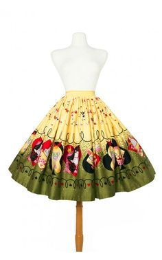 Pinup Girl Clothing- Jenny Skirt in Queen of Hearts Border Print   Pinup Girl Clothing