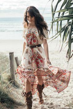 Boho Dress Off The Shoulder Printed Summer Dress