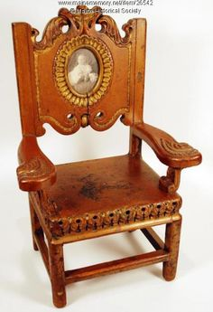 Child's chair with portrait, Portland, 1908. Daniel Kerr (1870-1935) and his wife, Mary, were both children of Irish immigrants. Daniel worked as a sign painter in Portland. He made this chair for their daughter Agnes Gertrude, who was born in 1906. The chair features her portrait. Item # 26542 on Maine Memory Network