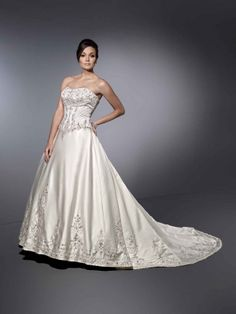 Ball gown straps cathedral train charming satin with ruffle wedding dress