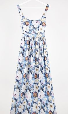 Floral blue dress maxi by Milkwhite franandlili.gr
