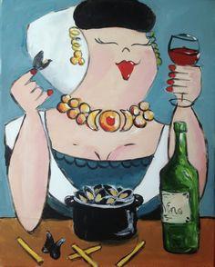 Zeeuwse dame Naive, Abstract Watercolor, Abstract Art, Mermaid Song, Fat Art, Clock Art, Easy Paintings, Funny Art, Acrylic Art