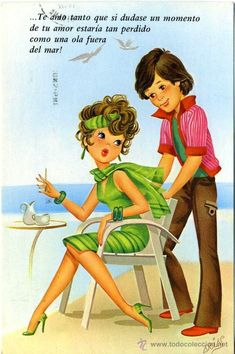 Pricing Guide of Old Postcards of Drawings and Caricatures. Sold through Direct Sale: Tarjeta postal - cyz / arias - post 1990 Lot 28334993 Vintage Greeting Cards, Vintage Postcards, Vintage Comics, Vintage Art, Cute Images, Cute Pictures, Vintage Couples, Disney Princess Art, Book Images