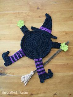 Crochet Fall Coasters, Crochet Placemat Patterns, Halloween Crochet Patterns, Knitting Patterns, Halloween Yarn, Adornos Halloween, Crochet Home, Free Crochet, Autumn Crochet