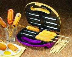 So you want to make snacks on a stick? The Nostalgia Electrics Snacks on a Stick Maker has you covered. It can make 6 snacks on sticks at a time. Cool Kitchen Gadgets, Kitchen Items, Cool Kitchens, Cool Gadgets, Kitchen Stuff, Kitchen Small, Kitchen Dining, Corn Dog Maker, Carnival Snacks