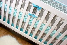 Aqua Gray Elephant Crib Bedding, Baby Bedding, Modern Nursery Custom Crib Set by modifiedtot on Etsy https://www.etsy.com/listing/171964688/aqua-gray-elephant-crib-bedding-baby