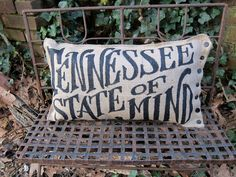 Tennessee State Of Mind Pillow. $26.00, via Etsy. This will be a Christmas gift to myself.