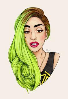 Gaga Green Hair art by Helen Green Lady Gaga, Helen Green, Framed Art Prints, Canvas Prints, Monster, Our Lady, Amazing Art, My Idol, Pop Art