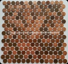 Interlocking tile sheet handmade with real pennies attached to mesh.