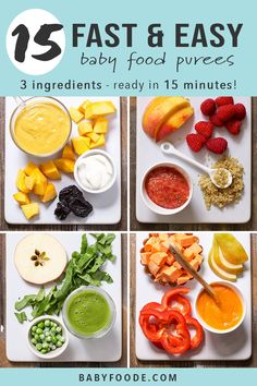 15 Fast Baby Food Recipes (made in under 15 minutes!) - Baby Foode These 15 Homemade Baby Food Recipes can each be made in under 15 minutes! These baby food purees are easy, healthy, nutritious, and most of all delicious! Baby Food Recipes 6 9, Healthy Baby Food, Pureed Food Recipes, Baby Bullet Recipes, Quick Recipes, Healthy Foods, Avocado Baby Food, Vegan Recipes, Fingerfood Baby