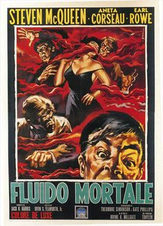 """Italian film poster for """"The Blob"""" (1958). Art by Sandro Symeoni."""