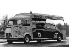 specialcar: Citroen H Van and Citroen DS Take your car with you. Citroen Ds, Citroen Type H, Psa Peugeot Citroen, Classic Trucks, Classic Cars, Automobile, Citroen Traction, Car Trailer, Truck Design