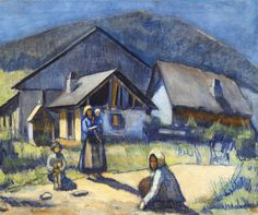 Bertalan Pór, Family in front of the houses in Slovakia, 1907
