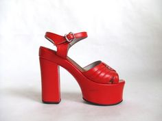 vintage 1970's bright red patent leather
