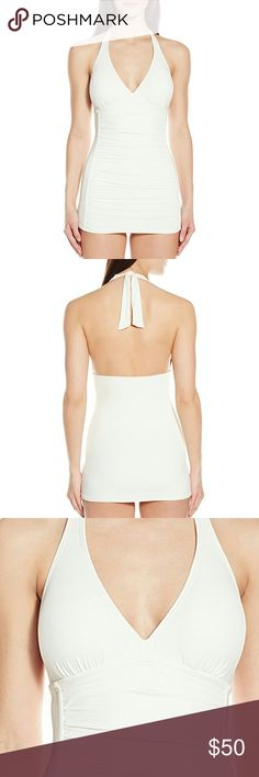 Coco Rave Halter Swim Dress Solid halter swim dress with tie neck and ruched body. 32DD and color is ivory. Coco Rave Swim One Pieces