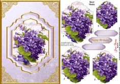 Sweet Violets on Craftsuprint designed by June Young - An A5 card design featuring a Floral posy of Sweet Violets in a shaped panel set on a toning background with a double gold-edged frame and an outer gold frame with rose filigree corners. There are four pyramid layers for the panel and three greetings plates, two are blank for your own use. There is a matching insert available cup561894_692 - Now available for download!