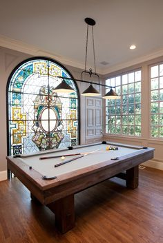 Billiards room (with gorgeous stained glass panel) from Property Brothers episode Chris & Mike features Landmark Designer Classics billiards lighting. Billiard Lights, Billiard Room, Billard Bar, Diy Design, Brunswick Billiards, Pool Table Room, Pool Table Lighting, Game Room Design, Property Brothers