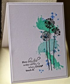 inspiration - watercolor or ink splatter background to sketch or stamped image. allycat cards