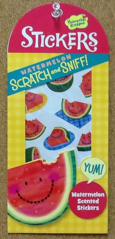 Watermelon Scented Scratch n' Sniff Stickers: $1.99. For more information or to check availability, call or email Polka Dots. 916-791-9070. polkadotsproshop@gmail.com
