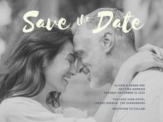 A simple Save The Date Wedding Invitation with a black and white image and light text. White Image, Lake View, Evergreen, Special Day, Save The Date, Getting Married, Wedding Invitations, Dating, Engagement