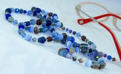 Blue and Purple Pressed Glass Beaded Eyeglass Chain Necklace by nonie615, $18.00