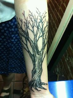 This is my second tattoo. I got it for many reasons, but basically I've always loved trees and they represent a lot for me. I got it done by the amazing Dan Bones at Leatherheads Tattoo in Brooklyn. Check out his Flickr page! http://www.flickr.com/photos/danbones/