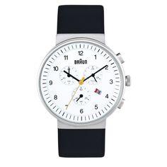 Braun - Men's BN-35WH Analog Chronograph, White dial, black band