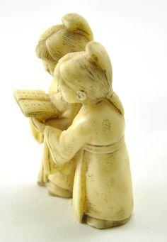 Vintage Ancient Chinese Reading Children Girl kid Resin Figurine Hand Carved   eBay