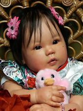 "Reborn KANA by Ping Lau ~ Asian ~ Chinese ~ ADORABLE 24"" Reborn Doll Soft Vinyl.  Love those chubby cheeks."