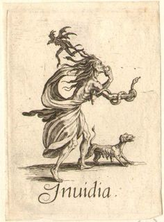 Envy: female figure with hair ending up in snakes, and with snake coiled around right arm, walking to right whilst eating an apple; with demon hovering over, and dog preceding her; on white ground. c.1618/25. Jacques Callot